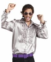 Zilver overhemd met rouches