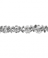 Zilver waslintje voor op kaars 24 cm