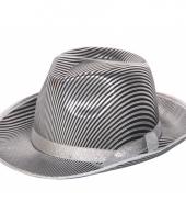 Zilver zwart gestreepte maffia hoed