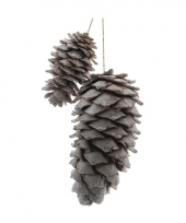 Zilveren dennenappels hangers 20 cm