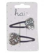Zilveren haarspeldjes glitter hartje