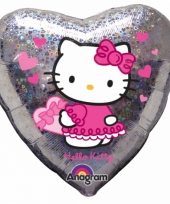 Zilveren hello kitty folie ballon 45 cm
