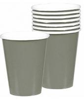 Zilveren kartonnen drinkbekers 8 stuks