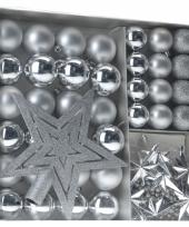 Zilveren kerstboomdecoratie set 45 delig