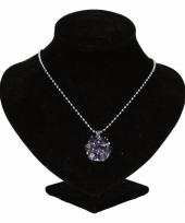 Zilveren ketting met paarse steentjes drukknoop