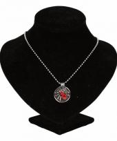 Zilveren ketting met rode spin drukknoop