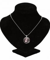 Zilveren ketting met roze spin drukknoop