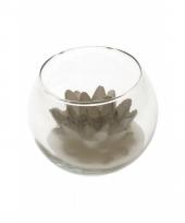 Zilveren lotus decoratie kaars in glas 10 x 8 cm