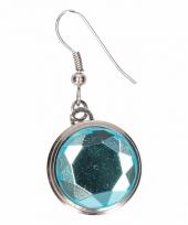Zilveren oorbellen met blauwe diamant drukknoop