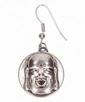 Zilveren oorbellen met boeddha drukknoop