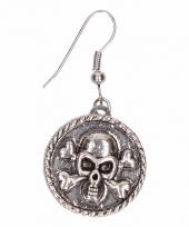 Zilveren oorbellen met doodshoofd drukknoop