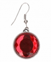 Zilveren oorbellen met rode robijn drukknoop