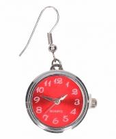 Zilveren oorbellen met rood klokje drukknoop