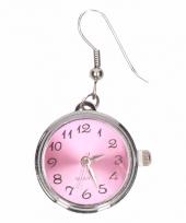 Zilveren oorbellen met roze klokje drukknoop