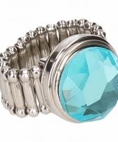Zilveren ring met blauwe diamant drukknoop