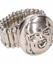 Zilveren ring met boeddha drukknoop