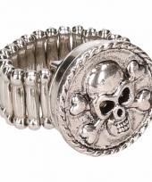 Zilveren ring met doodskop drukknoop