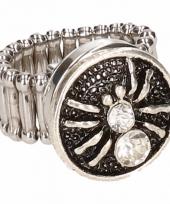Zilveren ring met rode spin drukknoop 10086206