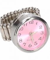 Zilveren ring met roze klok drukknoop