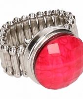 Zilveren ring met roze steen drukknoop
