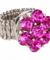 Zilveren ring met roze steentjes drukknoop