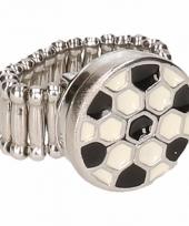 Zilveren ring met voetbal drukknoop