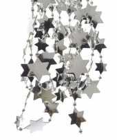 Zilveren sterren kralenslinger kerstslinger 270 cm