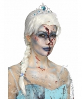 Zombie damespruik blonde vlecht