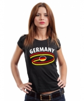 Zwart body fit-shirt germany voor dames