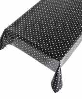 Zwart buiten tafelkleed tafelzeil polkadot 140 x 170 cm