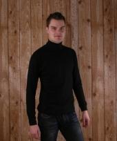 Zwart col t-shirt 100 katoen voor heren
