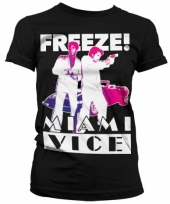 Zwart dames t-shirt miami vice freeze
