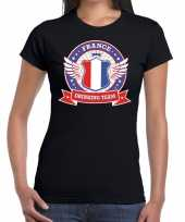 Zwart france drinking team t-shirt dames