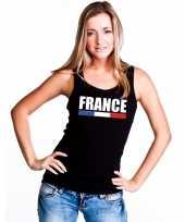 Zwart frankrijk supporter singlet-shirt tanktop dames