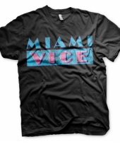 Zwart heren t-shirt miami vice logo