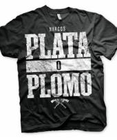 Zwart heren t-shirt narcos plata o plomo