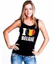 Zwart i love belgie fan singlet shirt tanktop dames
