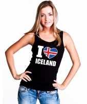 Zwart i love ijsland fan singlet-shirt tanktop dames