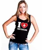 Zwart i love zwitserland fan singlet-shirt tanktop dames