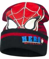 Zwart rode spiderman muts voor jongens