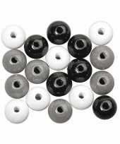 Zwart wit zilver gekleurde kraaltjes 6 mm
