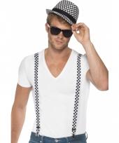 Zwart witte bretels en hoed