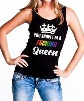 Zwart you know i am a fucking queen tanktop dames