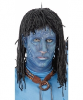 Zwarte blauwe jungle strijdster pruik voor mannen