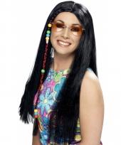 Zwarte carnavals hippie pruik dames