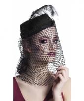 Zwarte dames hoed met sluier