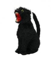 Zwarte decoratie kat 28 cm