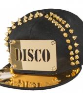 Zwarte disco pet met gouden spikes