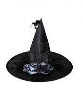 Zwarte heksenhoed met zwarte bloem