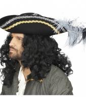 Zwarte kapitein piraat hoed met veren